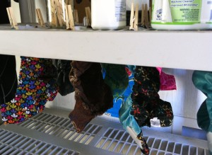 We clip ours to shelves to dry in our laundry room